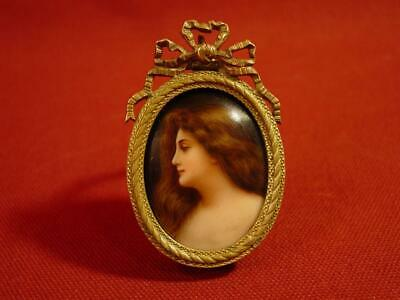 Antique 19th CENTURY MINIATURE FRENCH PORTRAIT PPAINTING  ON PORCELAIN  CAMEO