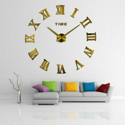Large Wall Clock 37 inch 3d Mirror Sticker Home Decor Modern Quartz Design