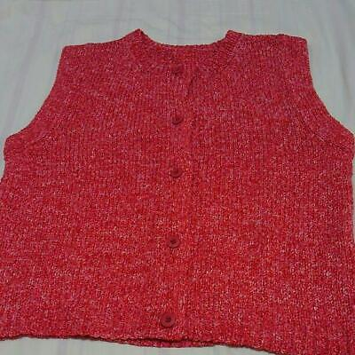 ISSEY MIYAKE PLEATS PLEASE Knit Vest Red Ladies Size M Y1012