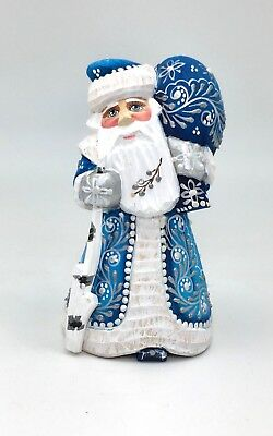 Russian SANTA in Blue Coat Wood Hand Carved Hand Painted Signed