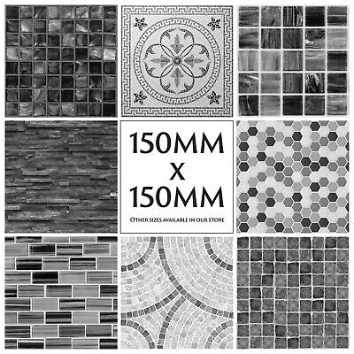 Mosaic Tile Stickers Decals Kitchen Transfers Black Grey Marble Glass Effect