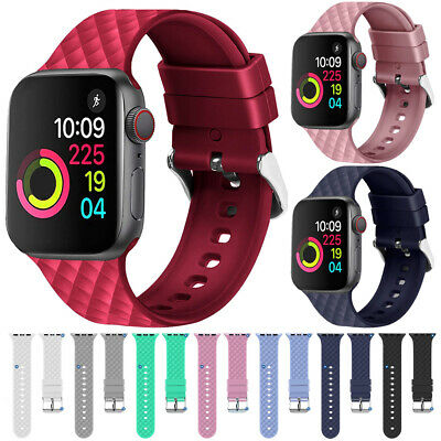 For Apple Watch Series 5 4 3 2 Silicone Sports Bracelet iWatch Strap Band 40 44