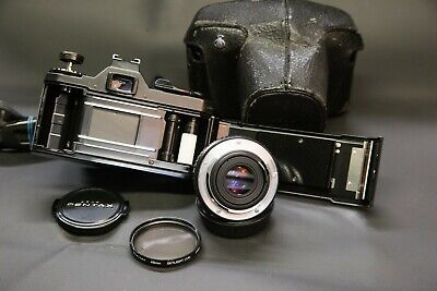 Pentax MV 35mm film SLR camera with Asahi 50mm f2 lens, case V-CLEAN SERVICED