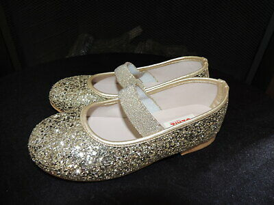 NWT Little Girls Shoe Size 12 * OZKIZ * Gold Super Glitter Ballet Shoes