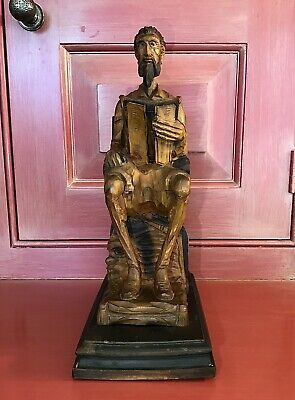 "Ouro Artesania Spain Don Quixote 11 1/4"" Carved Wood Bookend"