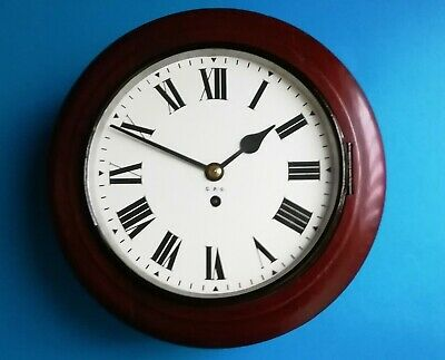 "#056 Mahogany 1948 10"" Gpo Wall Clock With F.w.elliott Chain Fusee Movement"