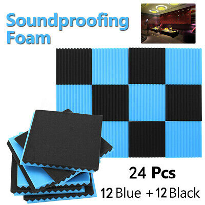 24 Studio Acoustic Foam Sound Absorbtion Proofing Panel Fireproof Wedge 30X30CM