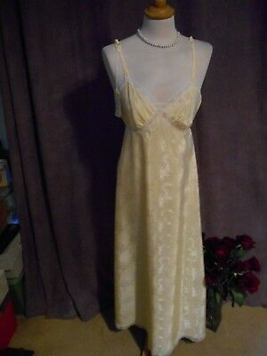 Yellow Silky feel True Vintage 1970' S 10 Nightgown Full length Lace St Michael