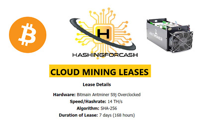 1 Week 15.5TH/s Bitcoin Cloud CryptoCurrency Mining Antminer Bitmain S9 BTC BCH