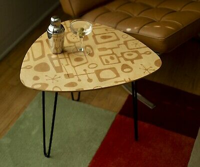 Mid Century Modern Cocktail Side Table Retro Atomic Maple Triangle