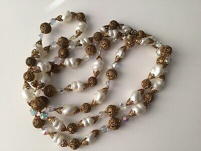 VTG Mid Century Molded Faux Pearl & Brass Necklace-Iridescent Glass Beads 50s