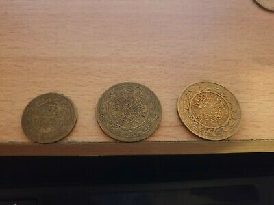 3 x Tunisia Brass Coins 20 Milliemes 1960, 100 Milliemes 1983,2013 non magnetic