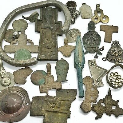 Medieval Byzantine & Post Middle Ages Artifact Lot — Pendant Bead Relic Old Rare