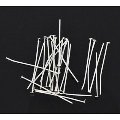 50-200 Head Pins Silver Plated Alloy 30mm long 0.7mm dia (B13031)