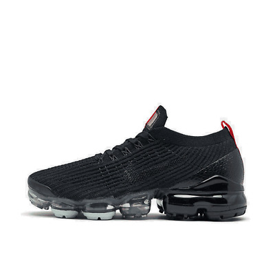 Men's Nike Air VaporMax Flyknit 3 Running Shoes Black/Black/Igloo/Flash Crimson