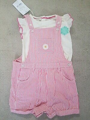 Girls' Pink Stripe Monsoon Hattie Dungaree Set 2-3 Years BNWT