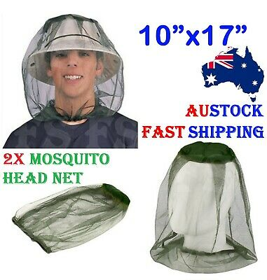 2X Mosquito Fly Head Net Insect Mesh Hat Bee Bug Mozzie Outdoor Fishing Flynet