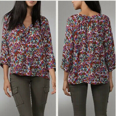 NEW Joie V-Neck 3//4 Length Sleeve Print Silk Blouse in Deep Mint Size S #T435