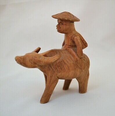Vintage Wooden Hand Carved Figurine Vietnamese Man Riding Water Buffalo