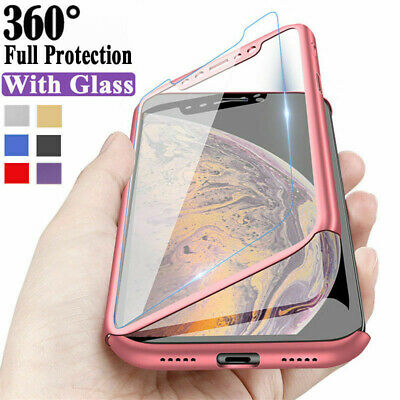 For Xiaomi Redmi 8T 7A 6A Note 8 7 6 5 Pro 360° Full Cover Case + Tempered Glass