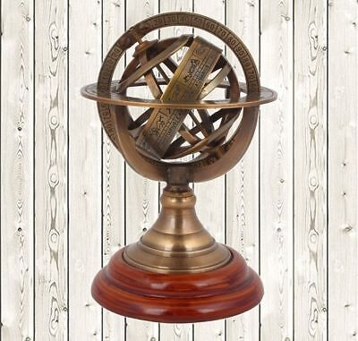 Antique Brass Armillary Sphere Nautical Table Top Zodiac Globe  Halloween Gift