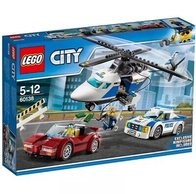LEGO 60138 City Police High-speed Chase Playset, Helicopter Toy and Sports Car