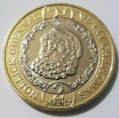 2019 £2 Pounds Isle Of Man Christmas Santa Coin