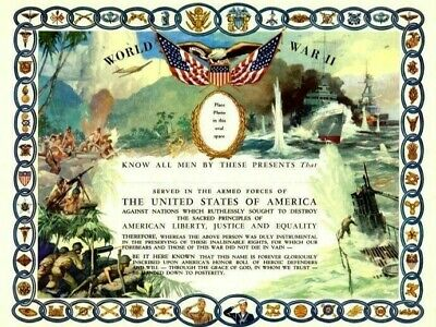 Original WWII US Military UNUSED ALL Services Certificate 1944 ARMY NAVY MINT
