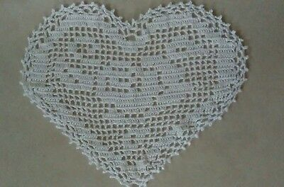 Crocheted Heart Shaped Doily $4.00 (white) Price Reduced! Free Shipping