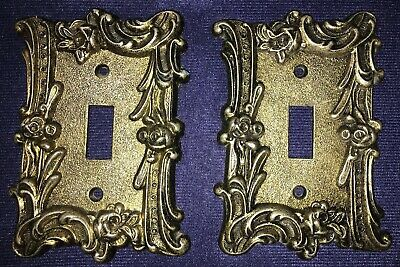 Pair Vintage EDMAR 60T Single Light Switch Covers-Ornate Roses Victorian