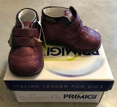 Girls Burgundy Red Metalic Boots/Shoes By Primigi BNIB Size 2 Infant (18 EU)