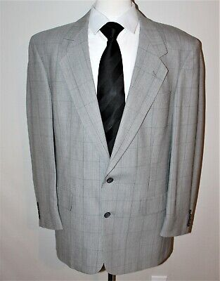 Austin Reed Men's Size 44 L Gray Plaid 2 Button Blazer/Sport Coat 100% Wool
