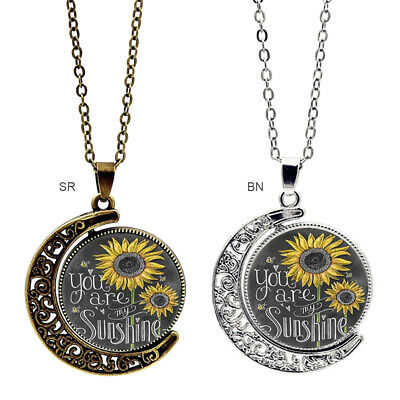 You are my Sunshine Letter Print Moon Pendant Sunflower Necklace Women Jewellery