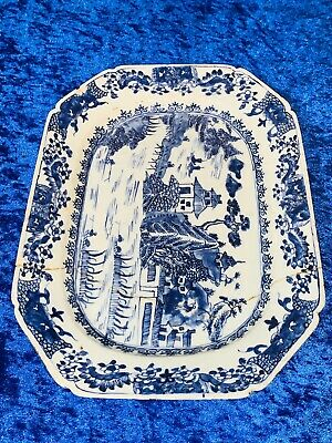 Chinese Blue And White Qianlong Meat Plate/charger
