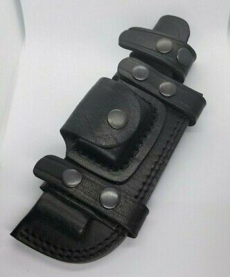 """Horizontal Scout Knife Sheath BLACK -  Pouch Genuine Leather Fits 5"""" to 6"""" blade"""