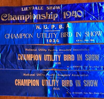 4 X Vintage Show Ribbons Sashes - 3 X Poultry 1934 1936(2) & 1940 Lilydale Tas