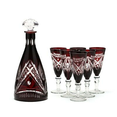 Vintage Bohemian Crystal Decanter Set Ruby Cut-to-Clear Circa  20th Century