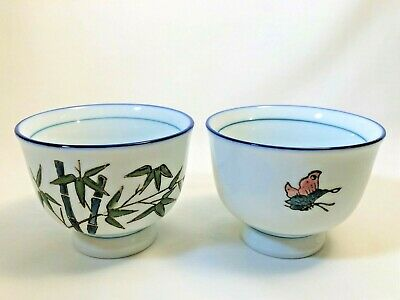 2 Vintage Chinese Porcelain Tea Cups With Butterflies and Bamboo Design