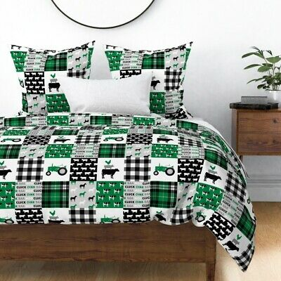 Farm Cheater Wholecloth Tractor Green Plaid Sateen Duvet Cover by Roostery