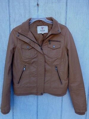 GUESS Leather Faux Coat Jacket Outwear Zip Size S Petite Brown Woman's Girls