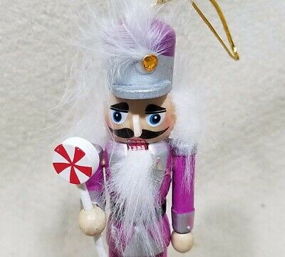 "Christmas Tree Ornament 5"" Purple Fusia Wooden Nutcracker Soldier"