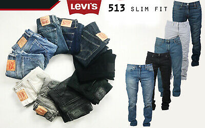 LEVIS 513 Slim Straight Fit Mens Denim Stretch Jeans Black Genuine
