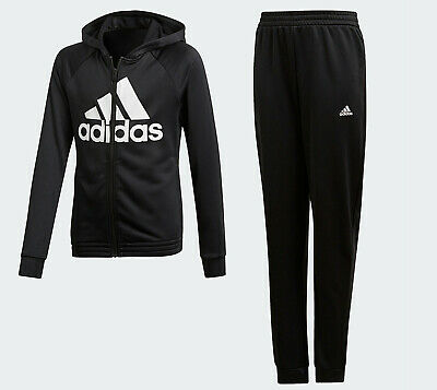 adidas Girls Tracksuit Set Age 14 - 15 training hoodie top and pants black NEW