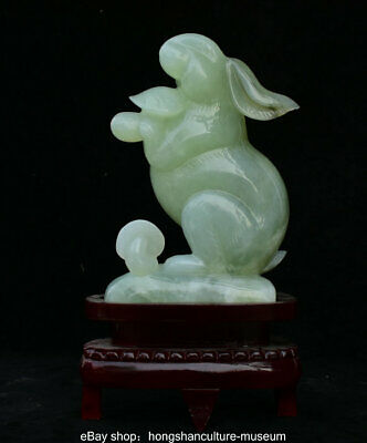 "12"" Chinese Natural Green Xiu Jade Jadeite Carved lovely Rabbit Animal Statue"