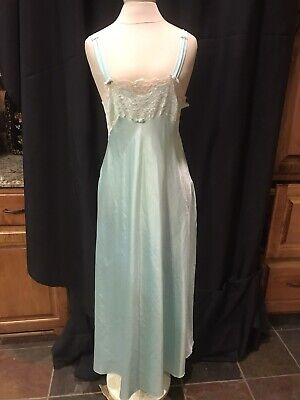 Vtg Night Gown-Long Christian Dior-women Sz.S-Polyester-L Green/Lace-Union Made
