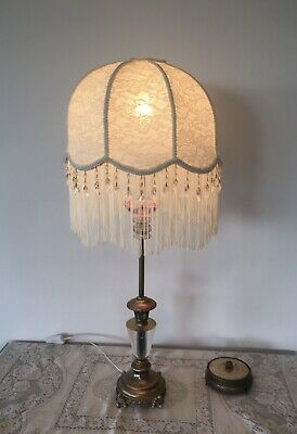 Amazing Pair Of Table Lamps Cream New Handcrafted Shades