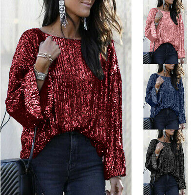 Women's Half Sleeve Sequin Sparkly Glitter Tops Party Clubwear Blouse shirt LIU9