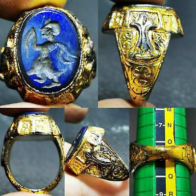 Medieval Old Lapis lazuli stone emperor intaglio beautiful Ring   #84