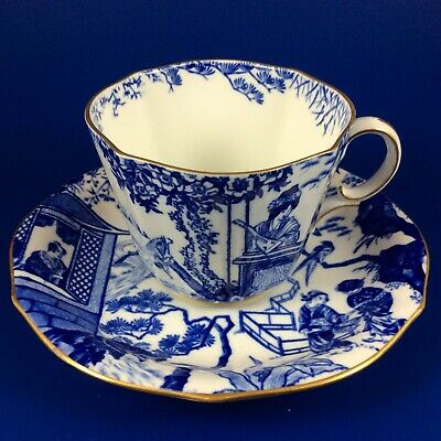 1925 Royal Crown Derby Blue Mikado Bone China Tea Cup And Saucer