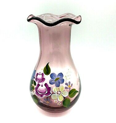 "VTG Fenton Teleflora Hand Painted Amethyst Purple 8"" Vase Art Glass Hand Blown"